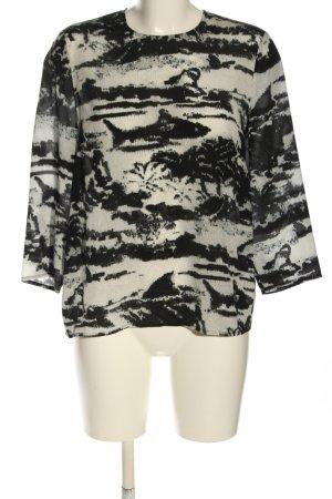 Lala Berlin Blouse en soie blanc-noir motif abstrait style décontracté