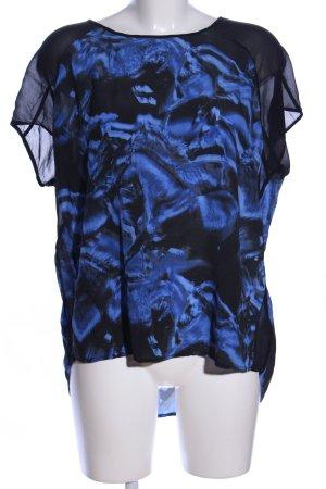 Lala Berlin Seidenbluse schwarz-blau abstraktes Muster Casual-Look