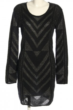 Lala Berlin Robe en maille tricotées noir-argenté imprimé allover