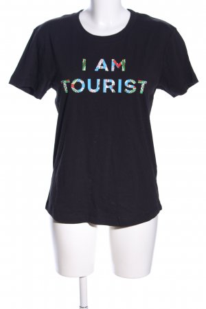 Lala Berlin T-Shirt schwarz Schriftzug gedruckt Casual-Look
