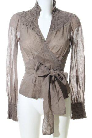 Laltramoda Blusa cruzada marrón elegante