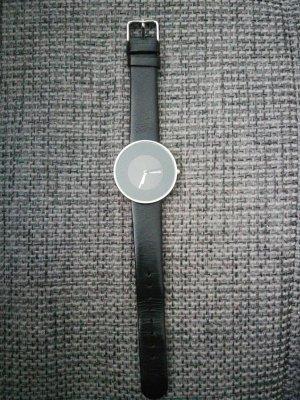 Lambretta Horloge met lederen riempje zwart-zilver