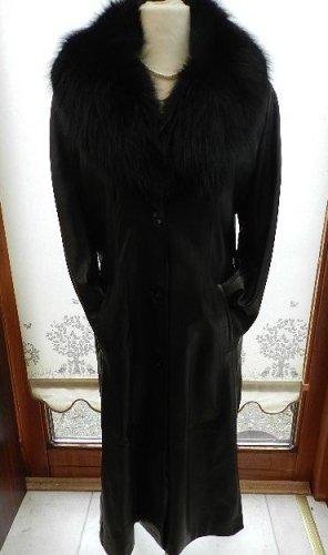Lamm Ledermantel mit abnehmbaren Fellkragen - schwarz - Gr. 44