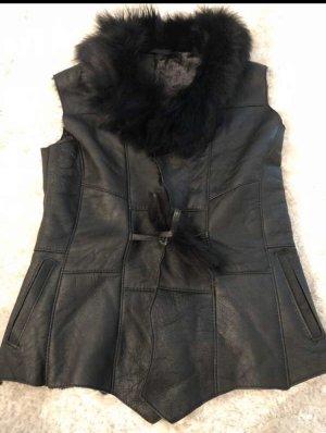 Chaleco de piel negro-gris antracita
