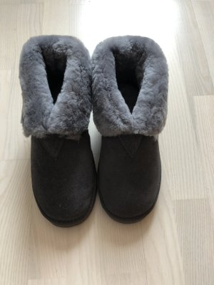 Slipper Socks grey leather