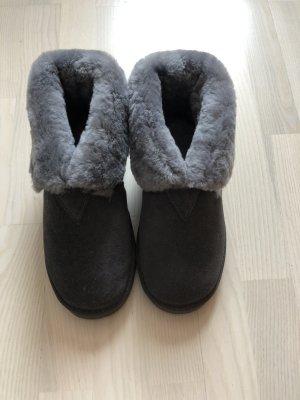 Pantoufles-chaussette gris cuir