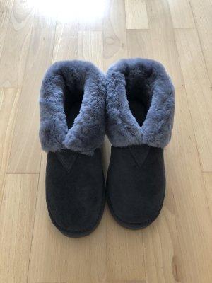 Slipper Socks grey leather