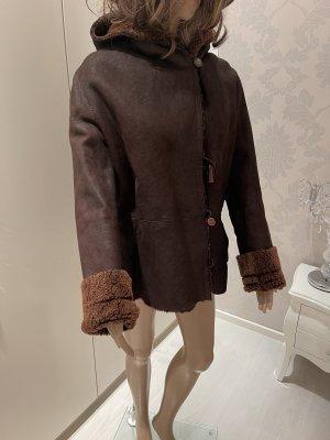 Jean Guise Giacca di pelliccia marrone-grigio