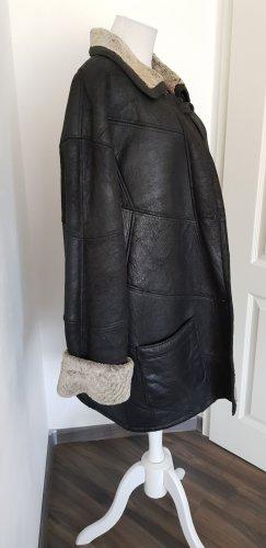 Manteau en cuir noir-gris brun