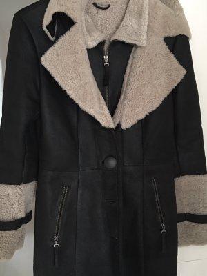 Abrigo de cuero marrón oscuro Cuero
