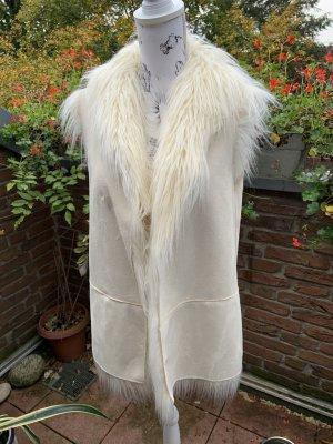 Armani Jeans Fur vest natural white