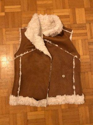Fur vest white-camel