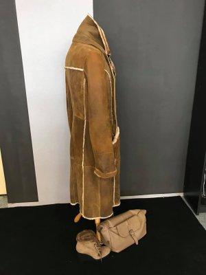 0039 Italy Manteau en cuir marron clair
