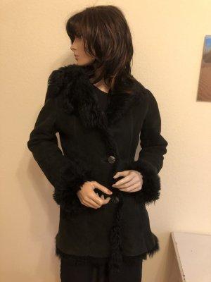 Futrzany płaszcz czarny Skóra