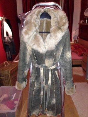 Abrigo de cuero multicolor lana de alpaca