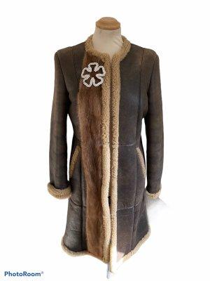 Philipp Plein Manteau en cuir brun