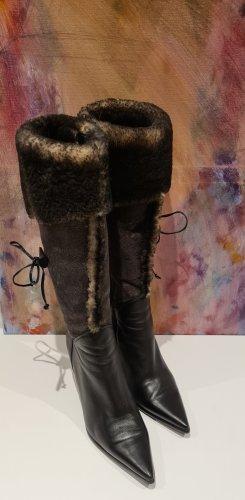 Sonstige Futrzane buty czarny-taupe Skóra
