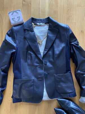 MARCCAIN Leather Blazer dark blue-blue