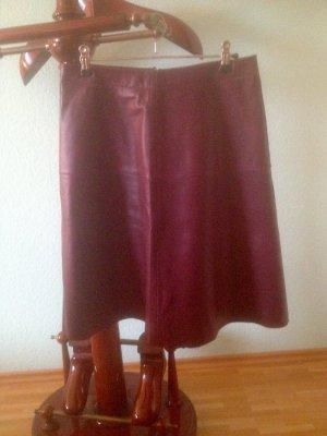 Hallhuber Leather Skirt carmine leather