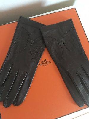 Vintage Leren handschoenen donkerbruin-zwart bruin Leer