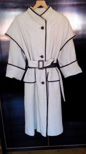 Abrigo de cuero blanco puro-negro Cuero