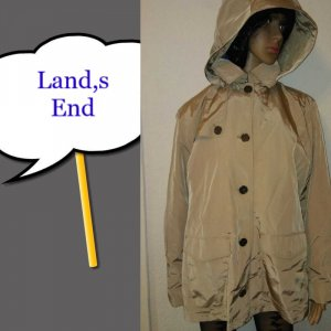 Lands' End Hooded Coat multicolored mixture fibre