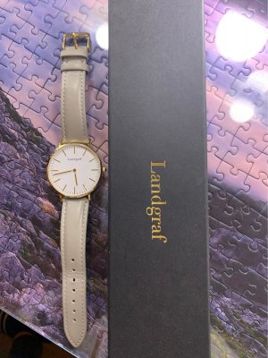 Watch With Leather Strap light grey-white