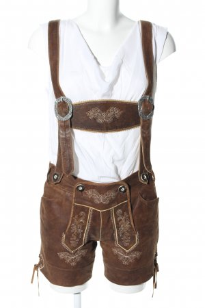 Landhaus by C&A Traditional Leather Trousers brown-white vintage look