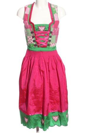 Landhaus Dirndl rose-vert motif à carreaux style mouillé