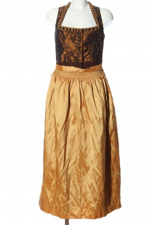 Landhaus Dirndl brown-light orange flower pattern wet-look