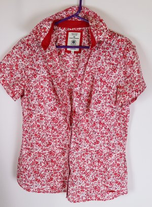 Landhaus Kurzarm Bluse Longbluse Tom Tailor Größe M 40 Rot Rosa Weiß Blumen Millefleure Rüschen Raffung