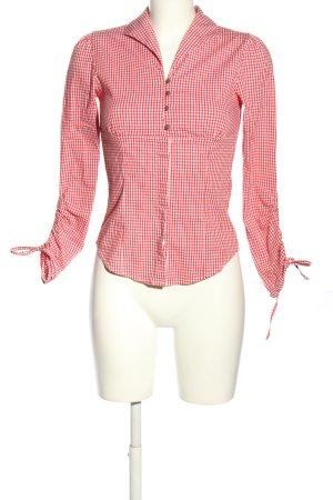 Landhaus Blouse bavaroise blanc-rouge imprimé allover style décontracté