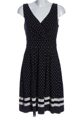 Lands' End A-Linien Kleid schwarz-weiß Allover-Druck Casual-Look
