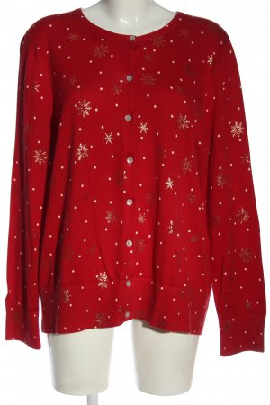 Lands' End Cardigan rot-weiß Allover-Druck Casual-Look