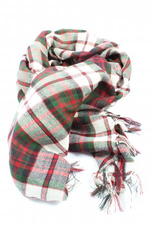 Lands' End Fringed Scarf check pattern casual look