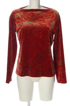 Lands' End Pullover a maglia grossa rosso-verde stampa integrale con glitter