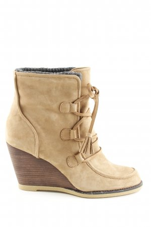 Lands' End Keil-Stiefeletten creme Casual-Look