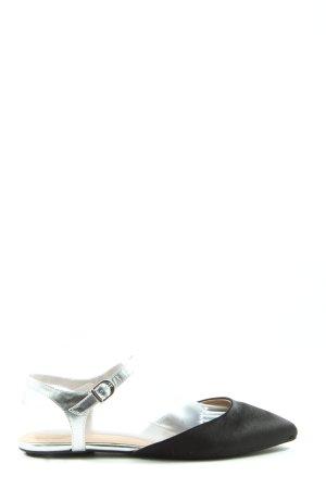 Lands' End Wygodne sandały czarny-srebrny W stylu casual