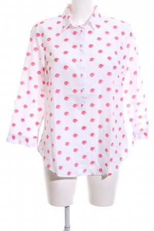 Lands' End Langarm-Bluse weiß-pink Allover-Druck Casual-Look