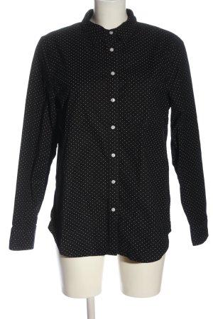 Lands' End Camicia a maniche lunghe nero-bianco sporco motivo a pallini