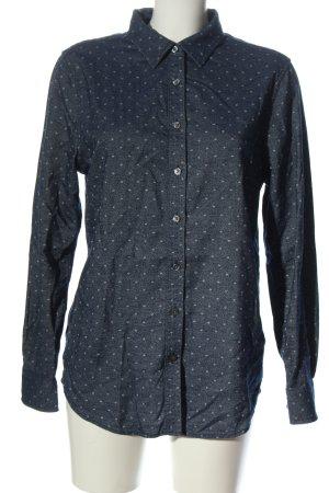 Lands' End Camicia a maniche lunghe blu-grigio chiaro motivo a pallini