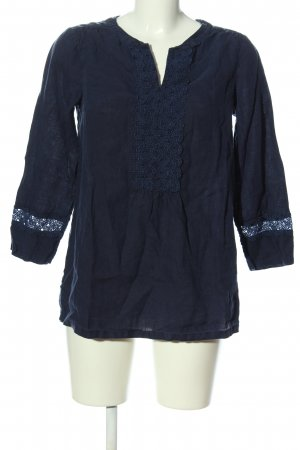 Lands' End Blusa de lino azul look casual