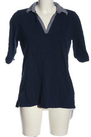 Lands' End Polo-Shirt blau-weiß Streifenmuster Casual-Look