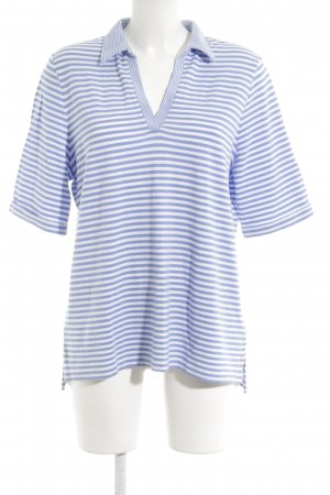 Lands' End Polo azzurro-bianco motivo a righe stile casual