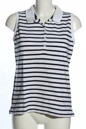 Lands' End Polo Top white-black striped pattern casual look