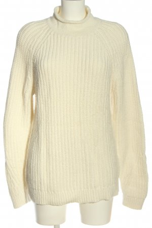Lands' End Rollkragenpullover wollweiß Zopfmuster Casual-Look