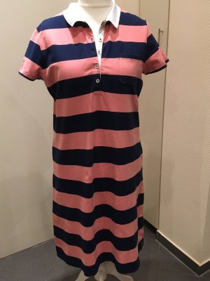 Lands' End Polo Dress dark blue-salmon cotton