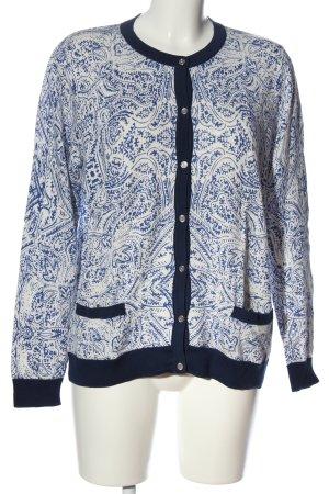 Lands' End Strick Cardigan weiß-blau abstraktes Muster Casual-Look