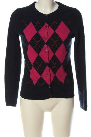Lands' End Cardigan in maglia blu-rosa motivo a quadri stile casual