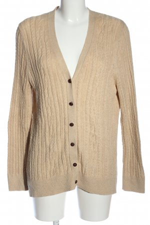 Lands' End Strick Cardigan creme Zopfmuster Casual-Look
